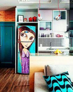 Olha que criatividade para integrar a cozinha ao apto! 🌟