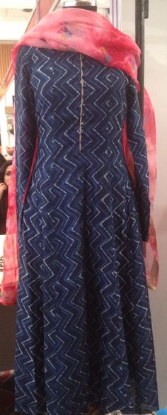 Indigo printed simple and elegant anarkali with shibori dyed dupatta