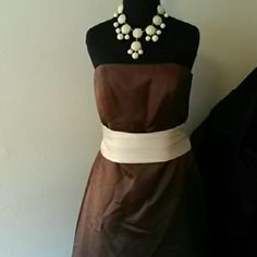 Mid lenght formal Brown and cream mid-length gown Bill Levkoff Dresses Midi