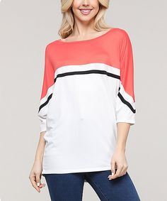 Ninexis Off-White & Coral Color-Block Stripe Dolman Tunic - Women & Plus Sporty Style, Coral Color, Off White, Tunic Tops, Women, Fashion, Sport Style, Moda, Athletic Style