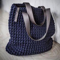 WEBSTA @ knitknotkiev - New Navy color of totes is available! ⛵Новая торбочка нэви#KnitKnotKiev #crochet #totebag #tote #tshirtyarn #zpagetti #purse #bag #handmade #handmadeisbetter @crochetcurator @handmadeisbetter #crochetcurator @creatorslane #creatorslane