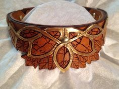 Elven Hand Tooled Leather Dog Collar (Antique Finish w/Gold) Tooled Leather, Leather Tooling, Leather Dog Collars, Bracelet Designs, Hand Tools, Cuff Bracelets, Antiques, Dog Stuff, Trending Outfits