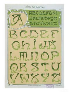 Art Nouveau   Art Nouveau Alphabet. 1903 reproduction procédé giclée par E ...