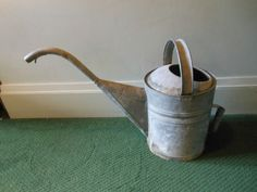 Vintage Antique Very Large Metal Watering Can - Metal With Long Spout and Handle.