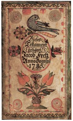 """An ornate, hand-drawn bookplate, with birds, tulips, and gothic text in German.  """" Fraktur """" are decorated manuscripts or documents of early Pennsylvania-Germans and other German-American immigrants. They were personal family records, rather than legal documents."""