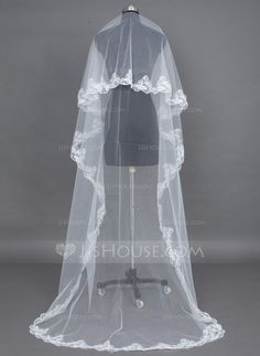 Wedding Veils - $18.99 - One-tier Chapel Bridal Veils With Lace Applique Edge (006037933) http://jjshouse.com/One-Tier-Chapel-Bridal-Veils-With-Lace-Applique-Edge-006037933-g37933?pos=related_products_3