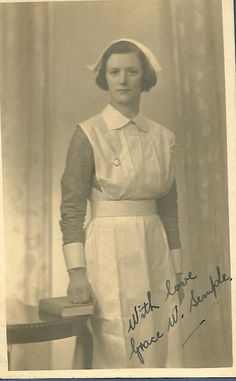 Nurse Grace W Semple- Glasgow    A nice image circa 1940s,a Glasgow photographer.Nice badge but can't make it out,possibly the Princess Margaret Rose Orthopaedic Hospital Edinburgh.