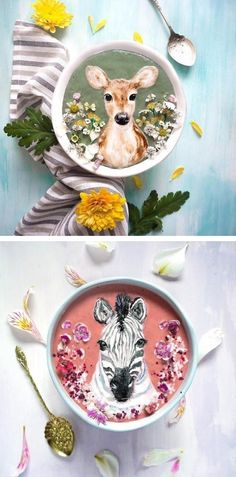 Illustrated smoothie bowls by Hazel Zakariya // food art // edible art