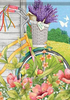 Bicycle Basket Summer House Flag Decorative Bike Floral Butterfly x