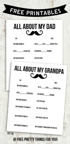 All About Dad  Grandpa Free Printables