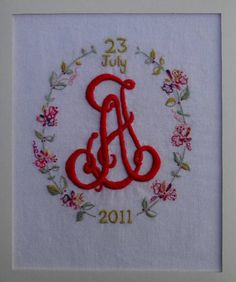 wedding monogram a j hand embroidered in embroidery cotton on linen by mary addison