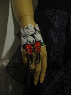 """,,White tulips and red butterfly"""" -bracelet, Toho Butterfly Bracelet, Red Butterfly, White Tulips, Brick Stitch, Loom Beading, Beaded Jewelry, Jewellery, Beautiful Hands, Blue And White"""