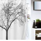 Shower Curtain Polyester Fabric Waterproof Bathroom 12 Hooks Tree Design Decor