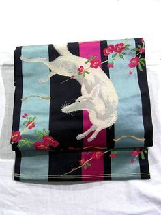 White Fox & Ume Motifs Vintage Nagoya Obi