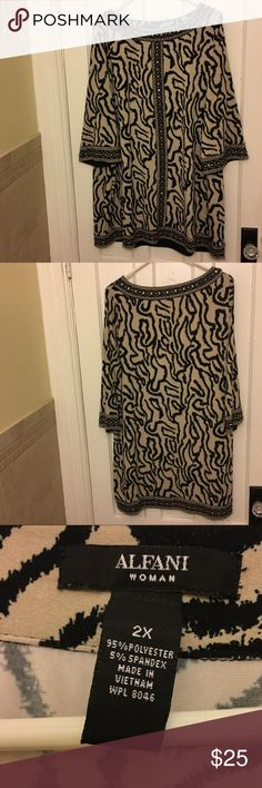 Beaded Alfani Tunic A cream and black animal print-esque tunic in Black and Tan with beading around neck, sleeves, bottom, and down the front. Looks adorable with jeans but also leggings or tights. Gently worn, missing about 4 of the beads, unnoticeable. From Alfani @ Macy's, size 2X.  💯 Open to offers! Alfani Tops Tunics