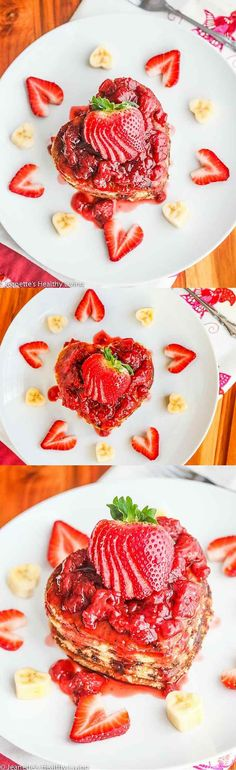 Whole Wheat Buttermilk Banana Chocolate Chip Pancakes with fresh Strawberry Sauce - treat your loved ones to a gorgeous stack of these pancakes for Valentine's Day or any other special occasion! ~ http://jeanetteshealthyliving.com