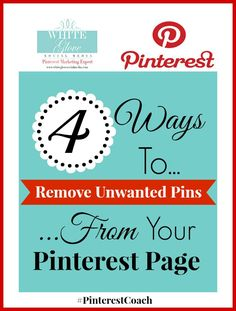 Pinterest marketing expert Anna Bennett shares for businesses: 4 Ways To Remove Unwanted Pins From Your Pinterest Page. Click here to read the full article http://www.whiteglovesocialmedia.com/pinterest-expert-4-ways-remove-unwanted-pins-pinterest-page/