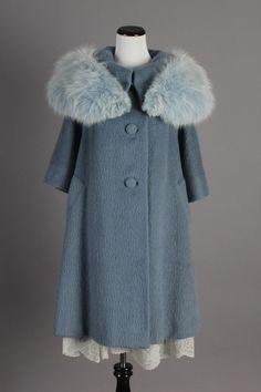 M/L 1950s Vintage Lilli Ann Beautiful Slate Blue Wool Winter Coat w/ Genuine Fur. The most beautiful vintage winter coat! $225 via eBay