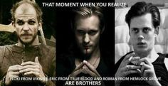 Skarsgards every where ~ And their Father is Stellan Skarsgard, he played Erik Selvig in Thor, Avengers, & Avengers: Age of Ultron Skarsgard Brothers, Skarsgard Family, Bill Skarsgard, Alexander Skarsgard, Eric From True Blood, Hemlock Grove Roman, Swedish Men, That Moment When, When You Realize