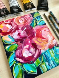Beginner level painting tutorials are now live. Learn how to paint flowers with acrylics on canvas with step by step instructions. Easy flower painting lessons with artist Elle Byers. Acrylic Painting Flowers, Acrylic Painting For Beginners, Acrylic Painting Tutorials, Abstract Flowers, Painting Videos, Painting Classes, Online Painting, Painting Flowers Tutorial, Floral Paintings