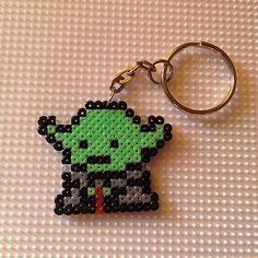 Yoda Star Wars keyring hama mini beads by montse_akane