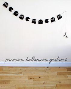 Pacman Halloween Garland. The geekiness in me is  dancing.