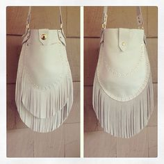 Double Fringe Leather Bag. Super soft leather. This can be a cross body or over the shoulder. And can be done in black, brown or white as shown.
