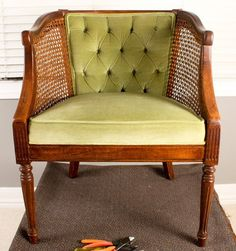 How-To: French Tuft a Cane Chair...From the Flea Market | Apartment Therapy #diy #canechair