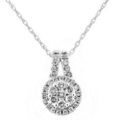 1/4 Carat Round Cluster Diamond Halo Pendant