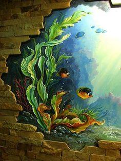 Natalia decorator, painting walls in Moscow, Reutov, Balashikha. The bulk molding, bas Sea Murals, Plaster Art, Mural Wall Art, Sea Art, Mural Painting, Paintings, Fish Art, Wall Sculptures, Wall Design