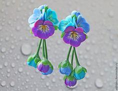 """Купить """"Анютины глазки"""" серьги - полимерная глина, цветы, анютины глазки, серьги длинные"""