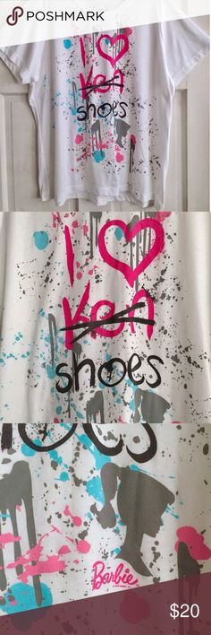 """Barbie Graphic Tee DOE for TORRID /  US Plus Size Size 3X Barbie Graphic Tee - """"I Love Shoes"""" {""""Ken"""" crossed out} Graphic Tee  - Short-sleeves / crew neck - White tee with pink, blue and grey text and paint splatter - Solid white on back - 50% Cotton / 50% Polyester {lots of stretch} ✅ NWOT- brand new, never worn ✅ NO trades / NO low-balling ✅ List price is fair and highly discounted✌️ torrid Tops Tees - Short Sleeve"""