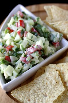 I may just eat it with a spoon! Crisp Cucumber Salsa// use low carb chips or put on fish or just eat like a salad still love the sour cream addition. Appetizer Recipes, Salad Recipes, Appetizers, I Love Food, Good Food, Yummy Food, Healthy Snacks, Healthy Eating, Healthy Recipes