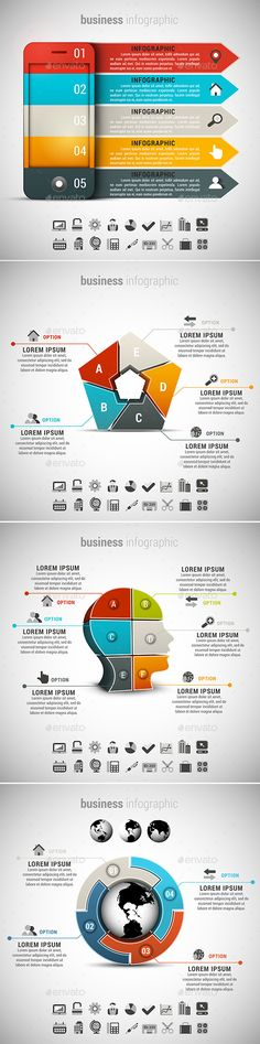 4 in 1 Business Infographics Bundle by grki Vector set of different business infographics. 22 icons inside each file. ZIP includes free font link, AI, PSD and high res Infographic Powerpoint, Infographic Resume, Business Infographics, Free Infographic, Infographics Design, Strategy Map, Concert Flyer, Web Design Tutorials
