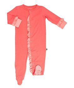 Take a look at this Deep Sea Coral Ruffle Footie - Infant today!