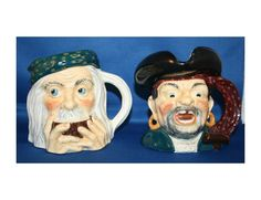 Vintage WR Midwinter LTD Treasure Island Toby Jug Pair Long John Silver & Ben Gunn Mug Made in England by KattsCurioCabinet on Etsy