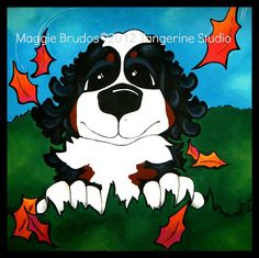 Check out Maggies art, its is amazing!  FALL art Whimsical dog ART seasonal  Leaves by tangerinestudio, $95.00