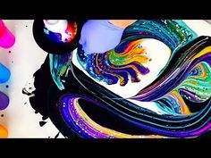 Sweeping Strainer Slide Technique for DIY Fluid Art and Acrylic Pours - YouTube