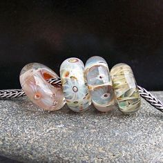 MruMru Handmade Lampwork Glass Bead set. Big hole boro beads, fit pandora, troll, biagi. Sra.