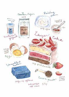 Items similar to Fine Art Watercolor Original Illustration Print. on Etsy Real Food Recipes, Dessert Recipes, Recipe Drawing, Cute Food Art, Food Sketch, Food Illustrations, Cake Illustration, Food Journal, Food Drawing