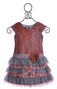 Isobella and Chloe Girls Drop Waist Dress in Coral Lace (4, 6X, 8, 10) $43.50