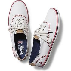 Keds CHAMPION MLB PENNANT ($60) ❤ liked on Polyvore featuring shoes, sneakers, red sox, vegan footwear, keds sneakers, keds footwear, faux leather shoes and vegan sneakers