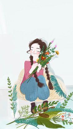 Cute Sketches, Cute Drawings, Fantasy Paintings, Anime Art Girl, Cute Illustration, Cartoon Art, Cute Art, Watercolor Art, Art Prints
