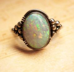 LARGE Stone Opal Modernist Ring Gorgeous colors size 8 vintage sterling silver jewelry