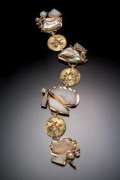 White drusy quartz bracelet with pearl, & diamonds, in 22k and 18k gold.