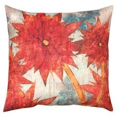 Multicolor indoor/outdoor pillow with a floral motif.   Product: PillowConstruction Material: Recycled polyesterColor: Beige, red and blueFeatures:  UV treated  Weather proof, resists moisture and fadingDigitally printedInsert included Dimensions: 20 x 20