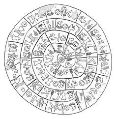 The Phaistos Disk, from ancient Crete, about 1600 BC. Ancient Greek Art, Ancient Ruins, Ancient Greece, Greek Font, Greek Symbol, Minoan Art, Le Tarot, Ancient Scripts, Mycenaean