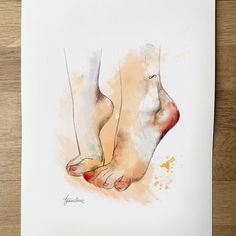 We can walk together or we can walk on the distance... But our way will always be infinity.  Podremos caminar juntas o podremos caminar a distancia pero nuestro camino siempre será infinito.  #art #illustration #watercolorpainting #watercolor #feet #foot #infinity #friendship #love #always #poetry #sentimental #brushstrokes #drawing #anatomy #body #painting #friend #walk @au.lian #tattoo #tattooart
