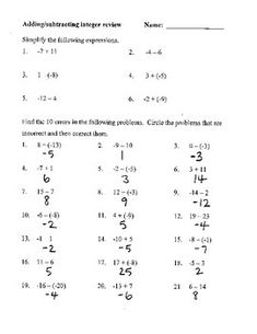 Use this along with the adding integers same and different signs this worksheet lets the students practice adding and subtracting integers along with them doing error analysis fandeluxe Image collections