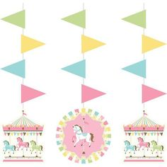 Carousel Hanging 36 Cutout 3 Pack Baby Shower Girls Birthday Decorations Party - Ideas of Baby Shower Carnival Baby Showers, Baby Shower Parties, Girl Birthday Decorations, Baby Shower Decorations, Halloween Costume Shop, Halloween Costumes For Kids, Carousel Party, Carousel Birthday, Carnival Birthday